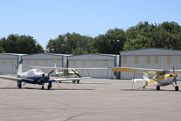 Planes at Tie Downs at Tehachapi Municipal Airport
