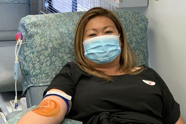 Kim Donating Blood